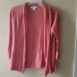 August Silk brand coral 3/4 length sleeve cardigan